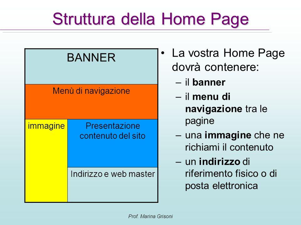 Struttura della Home Page