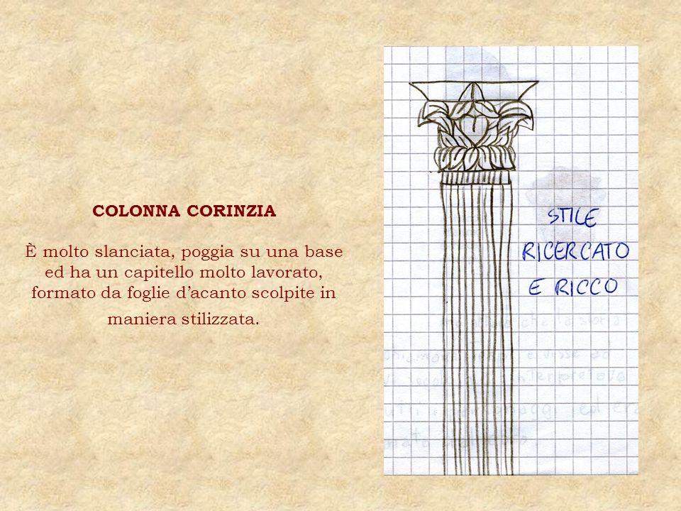 COLONNA CORINZIA È molto slanciata, poggia su una base ed ha un capitello molto lavorato, formato da foglie d'acanto scolpite in maniera stilizzata.