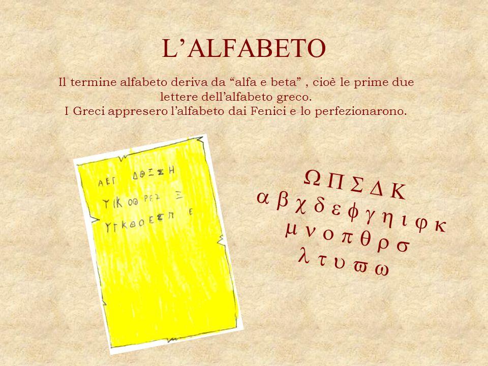 I Greci appresero l'alfabeto dai Fenici e lo perfezionarono.