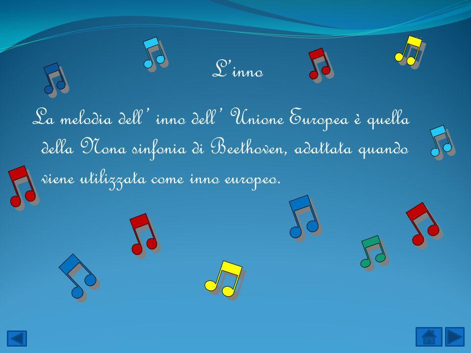 L'inno La melodia dell' inno dell' Unione Europea è quella della Nona sinfonia di Beethoven, adattata quando viene utilizzata come inno europeo.