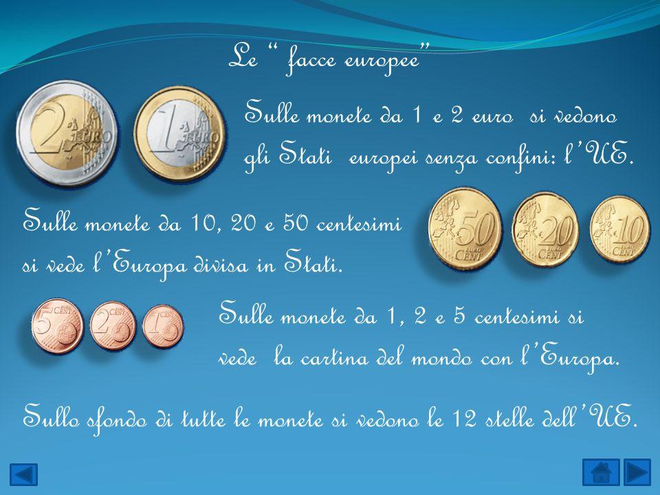 Le facce europee Sulle monete da 1 e 2 euro si vedono gli Stati europei senza confini: l'UE.