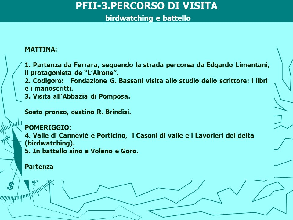 PFII-3.PERCORSO DI VISITA birdwatching e battello