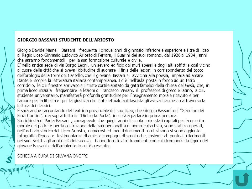 GIORGIO BASSANI STUDENTE DELL'ARIOSTO