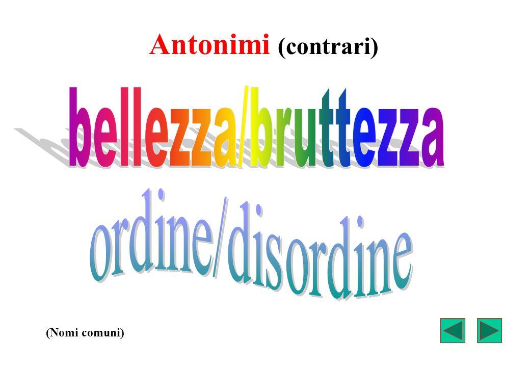 Antonimi (contrari) bellezza/bruttezza ordine/disordine (Nomi comuni)