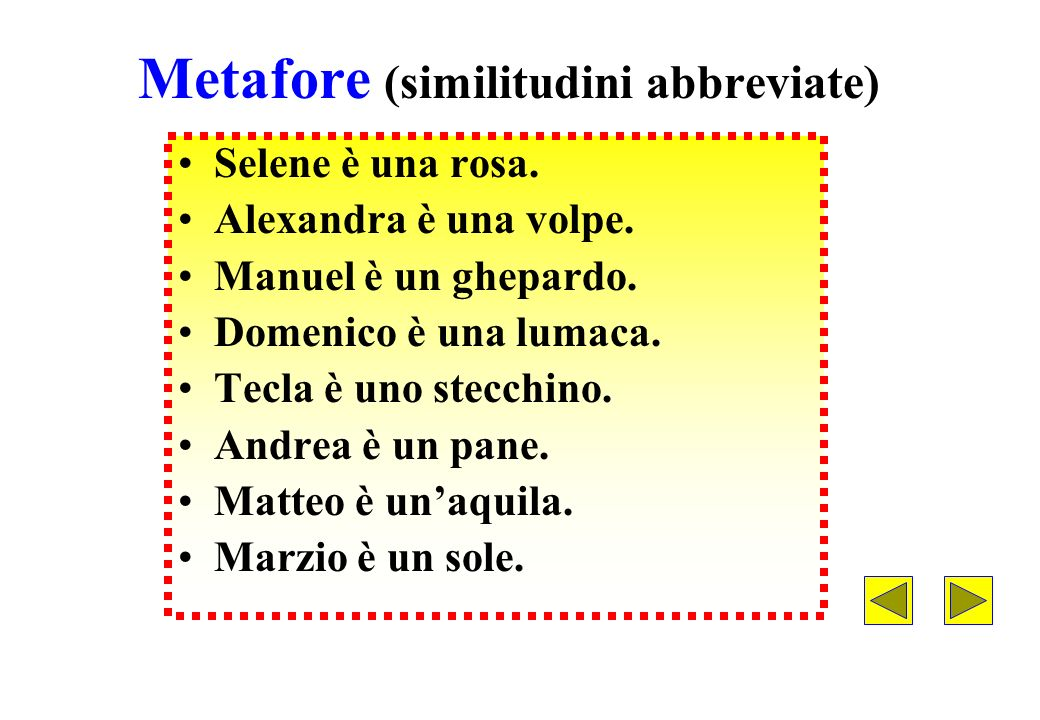 Metafore (similitudini abbreviate)