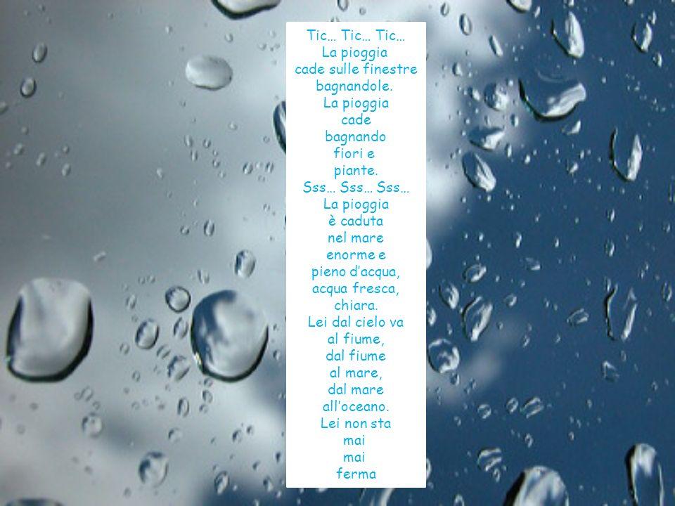 Tic… Tic… Tic… La pioggia. cade sulle finestre. bagnandole. cade. bagnando. fiori e. piante. Sss… Sss… Sss…