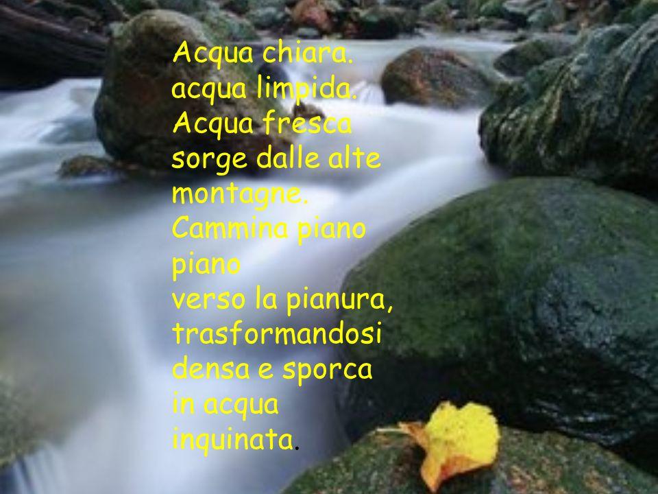 Acqua chiara. acqua limpida. Acqua fresca. sorge dalle alte montagne. Cammina piano piano. verso la pianura,