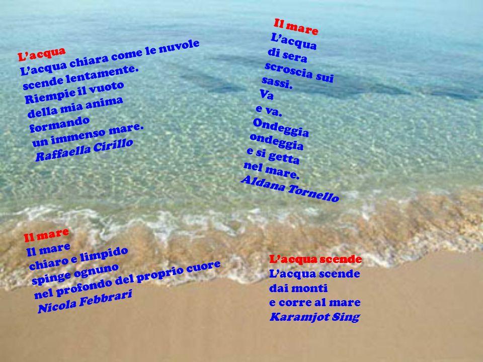 Il mare L'acqua. di sera. scroscia sui. sassi. Va. e va. Ondeggia. ondeggia. e si getta. nel mare.
