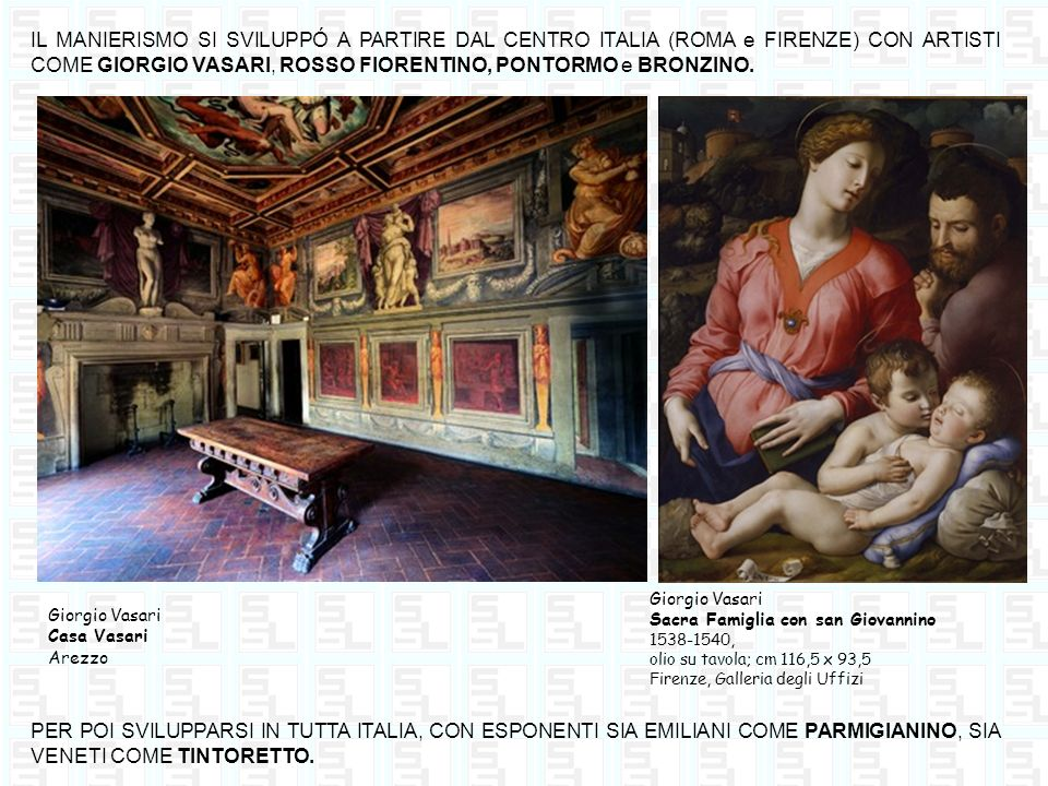 IL MANIERISMO SI SVILUPPÓ A PARTIRE DAL CENTRO ITALIA (ROMA e FIRENZE) CON ARTISTI COME GIORGIO VASARI, ROSSO FIORENTINO, PONTORMO e BRONZINO.