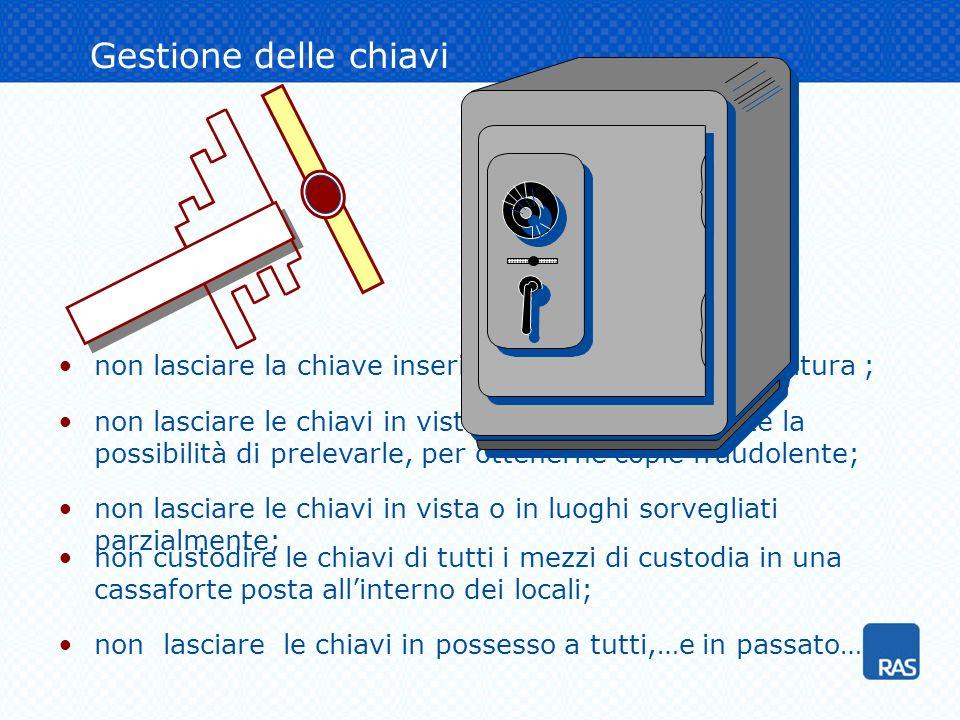 Gestione delle chiavi non custodire le chiavi di tutti i mezzi di custodia in una cassaforte posta all'interno dei locali;