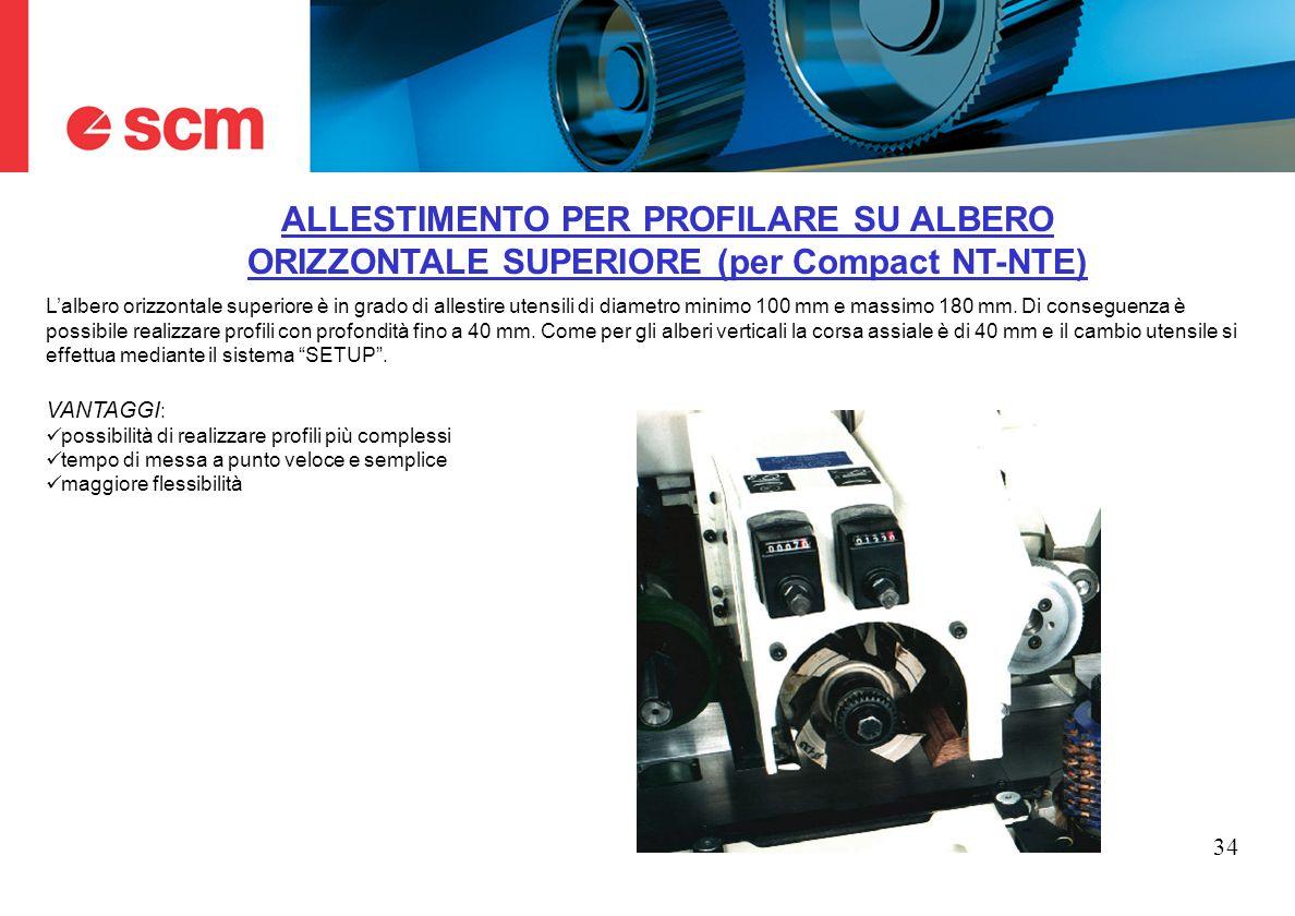 ALLESTIMENTO PER PROFILARE SU ALBERO ORIZZONTALE SUPERIORE (per Compact NT-NTE)