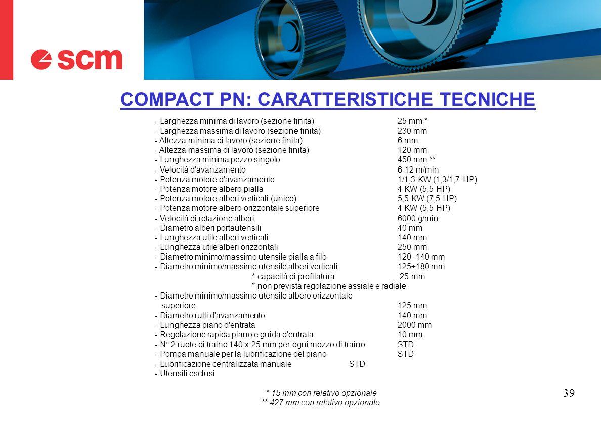 COMPACT PN: CARATTERISTICHE TECNICHE