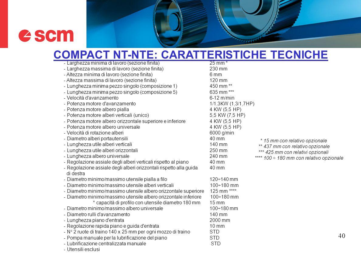 COMPACT NT-NTE: CARATTERISTICHE TECNICHE