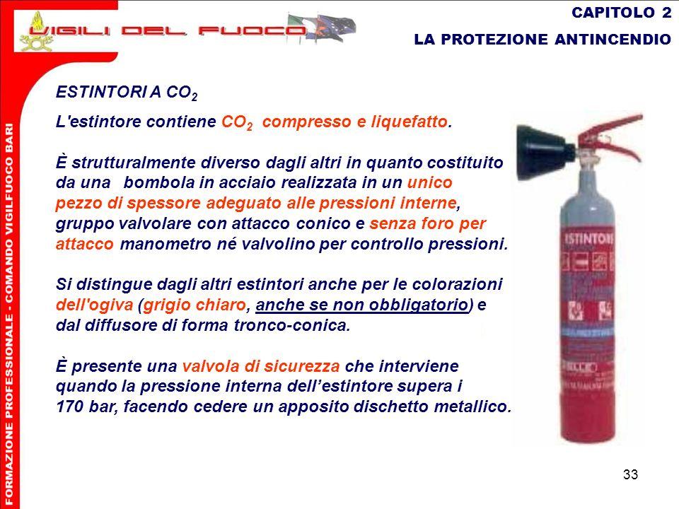 L estintore contiene CO2 compresso e liquefatto.