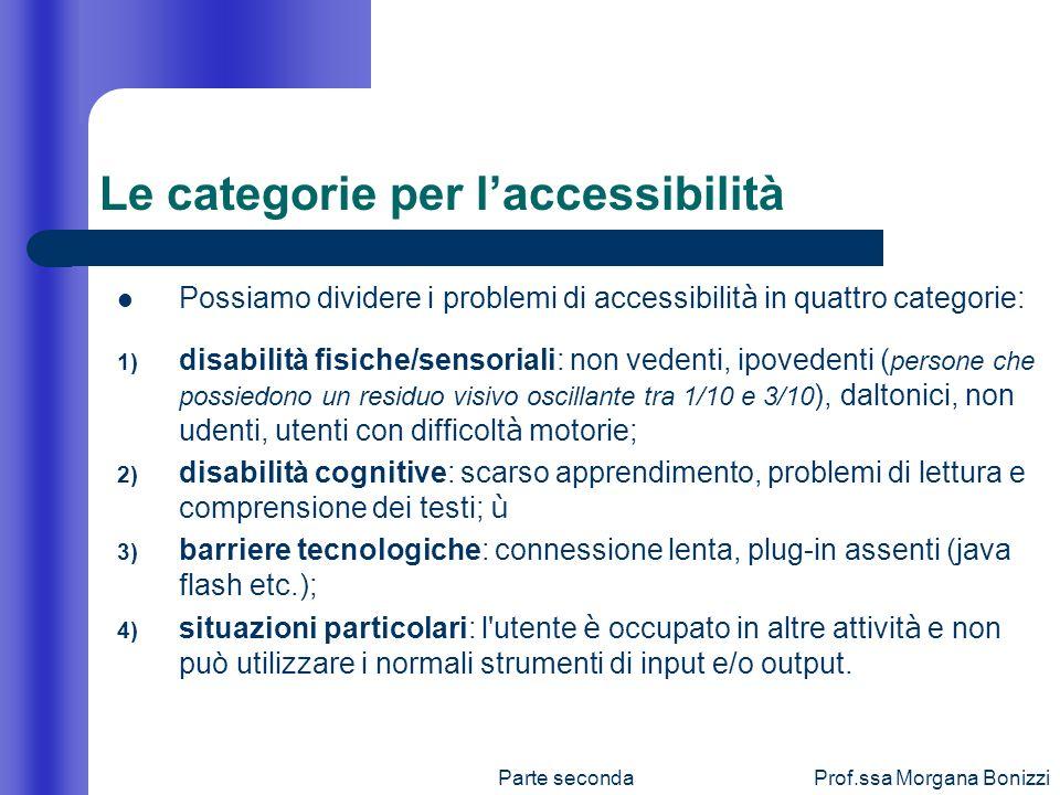 Le categorie per l'accessibilità