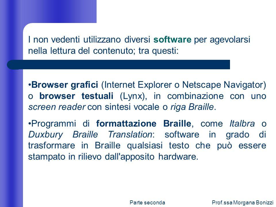 I non vedenti utilizzano diversi software per agevolarsi nella lettura del contenuto; tra questi: