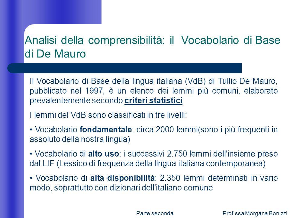 Analisi della comprensibilità: il Vocabolario di Base di De Mauro