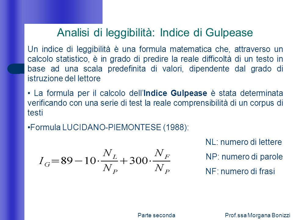 Analisi di leggibilità: Indice di Gulpease