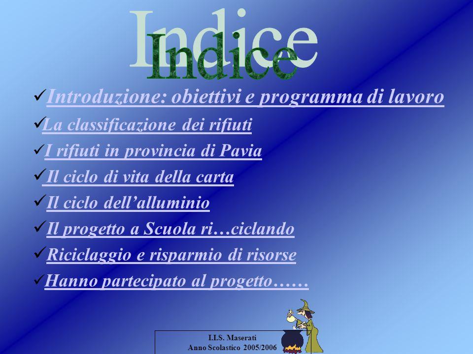 Indice Introduzione: obiettivi e programma di lavoro