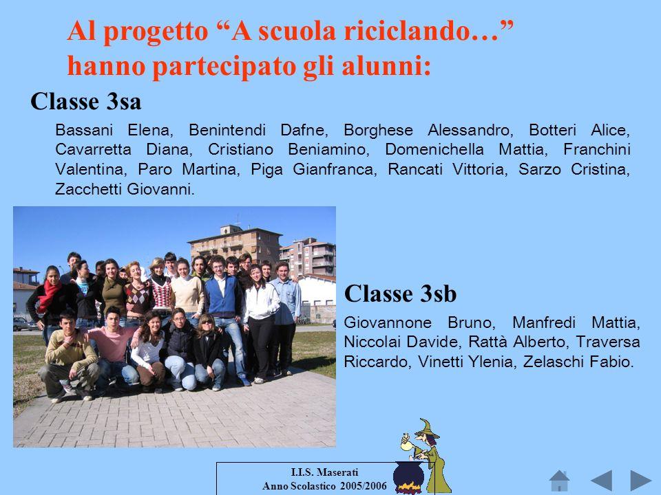 Al progetto A scuola riciclando… hanno partecipato gli alunni: