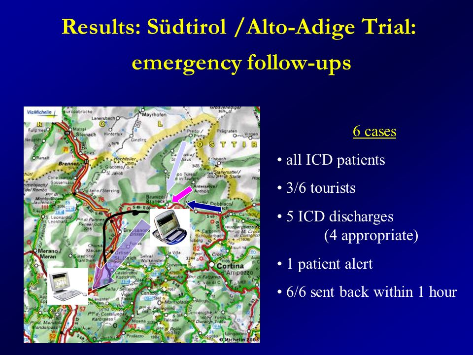 Results: Südtirol /Alto-Adige Trial: emergency follow-ups