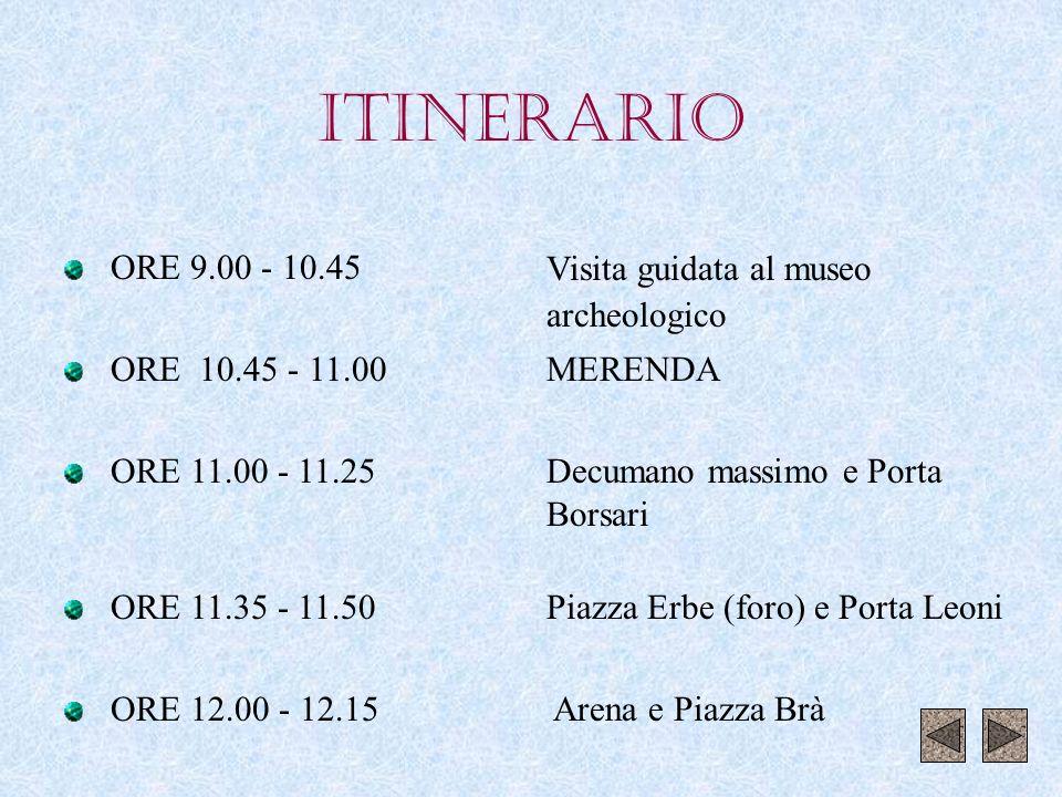 ITINERARIO ORE 9.00 - 10.45 ORE 10.45 - 11.00 ORE 11.00 - 11.25