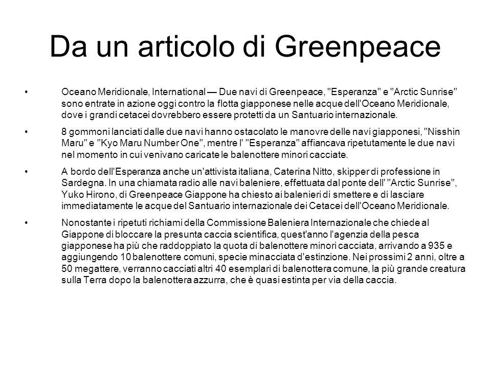 Da un articolo di Greenpeace
