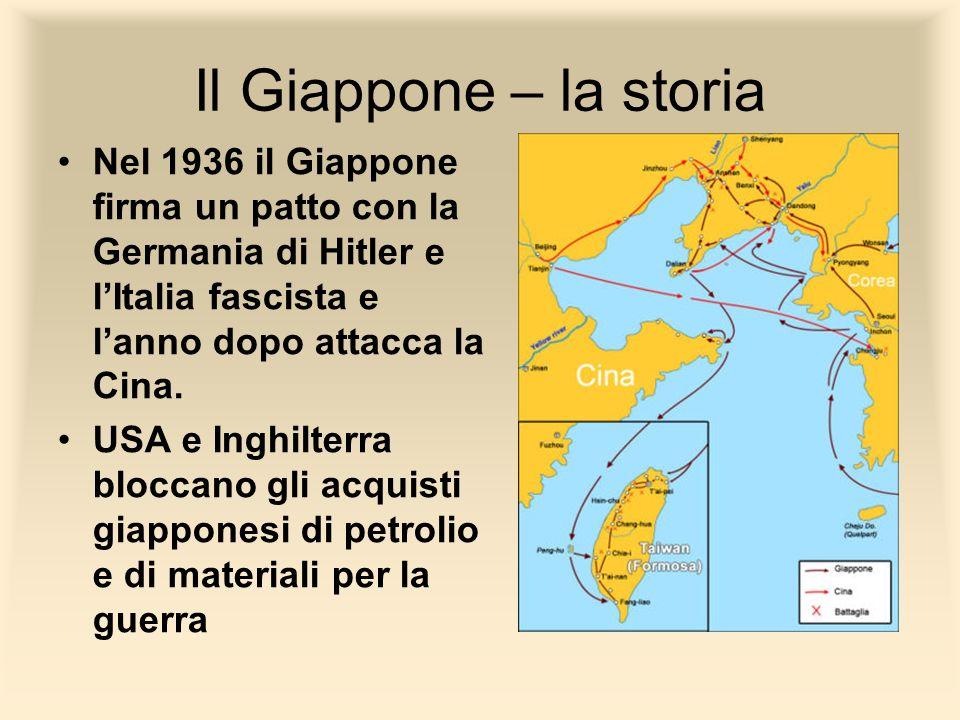 Il Giappone – la storiaNel 1936 il Giappone firma un patto con la Germania di Hitler e l'Italia fascista e l'anno dopo attacca la Cina.