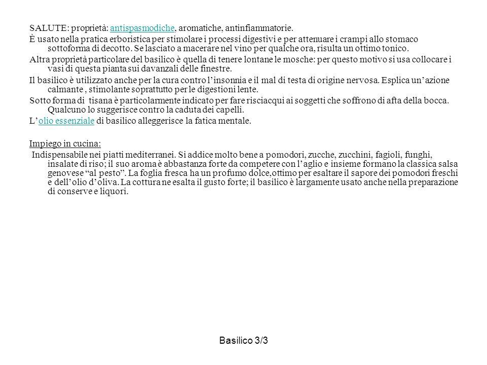 SALUTE: proprietà: antispasmodiche, aromatiche, antinfiammatorie.