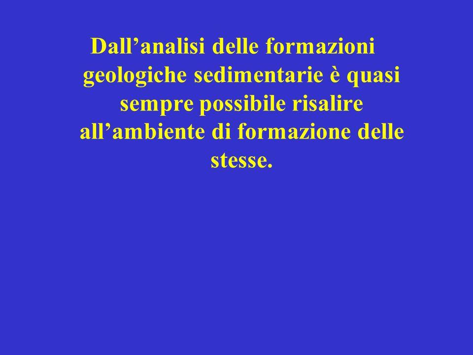 Dall'analisi delle formazioni geologiche sedimentarie è quasi sempre possibile risalire all'ambiente di formazione delle stesse.