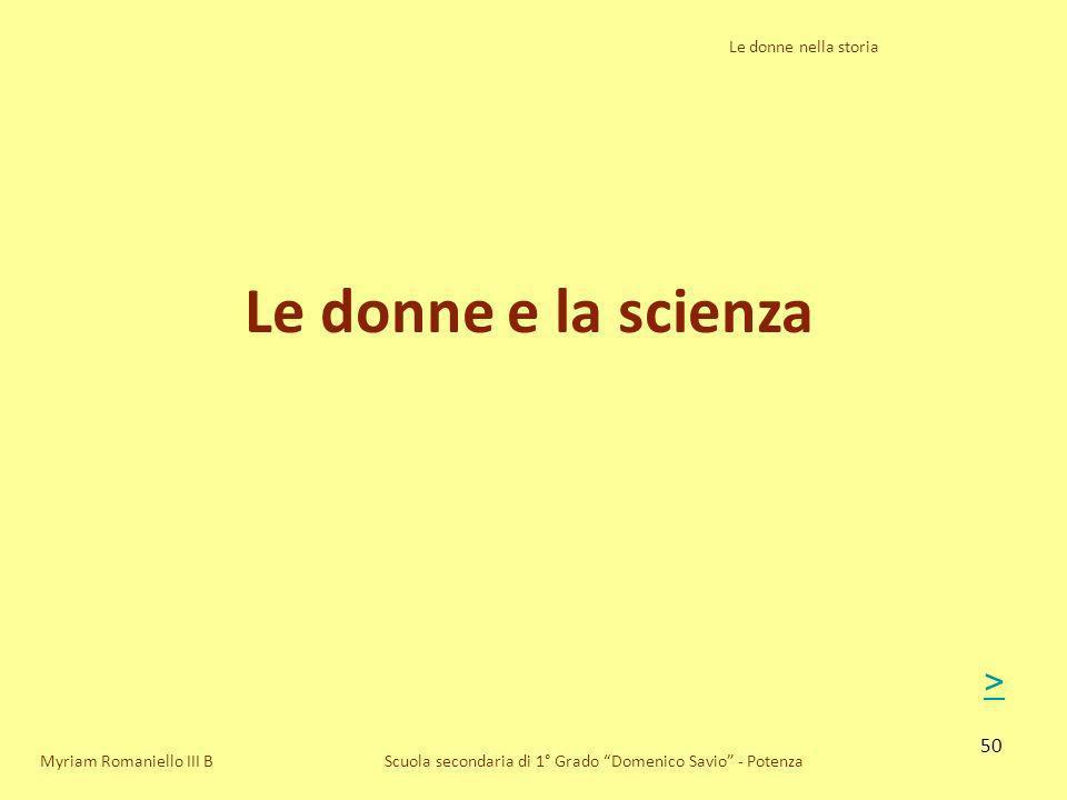 Le donne e la scienza > Le donne nella storia