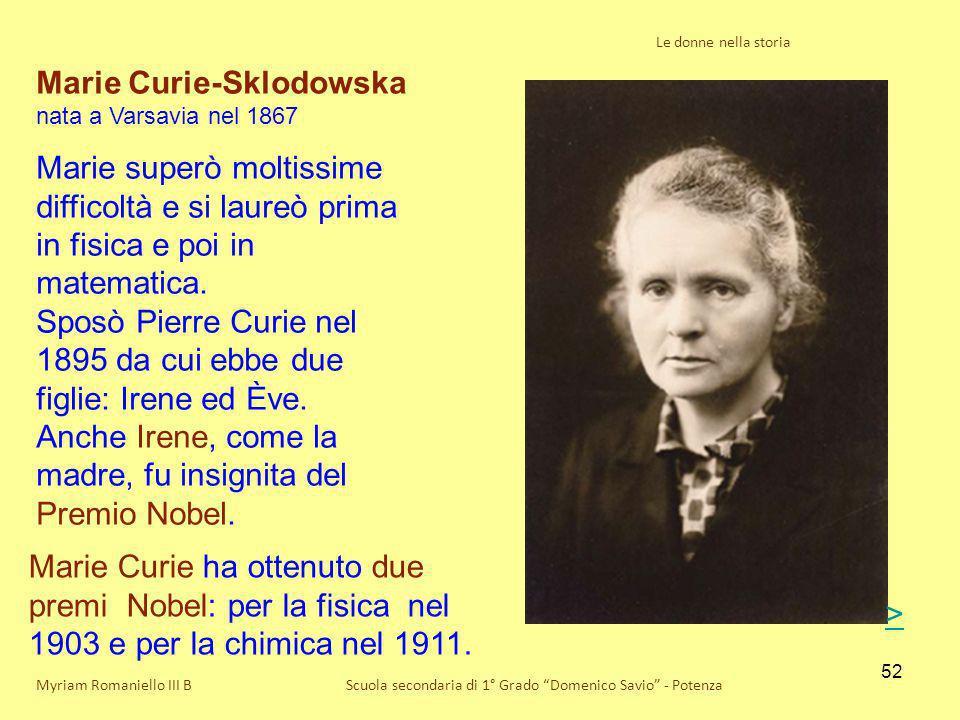 Marie Curie-Sklodowska nata a Varsavia nel 1867