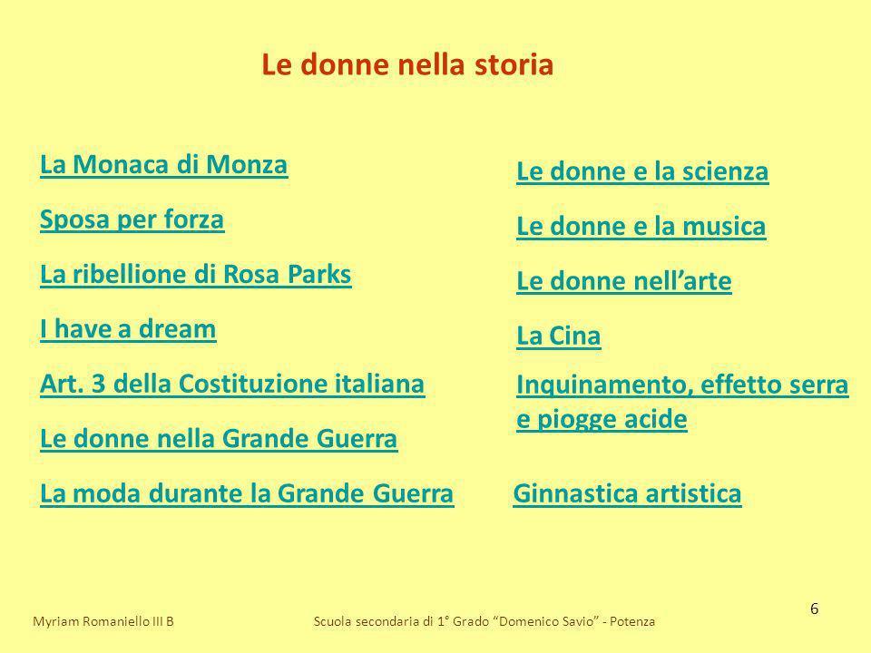 Le donne nella storia La Monaca di Monza Le donne e la scienza