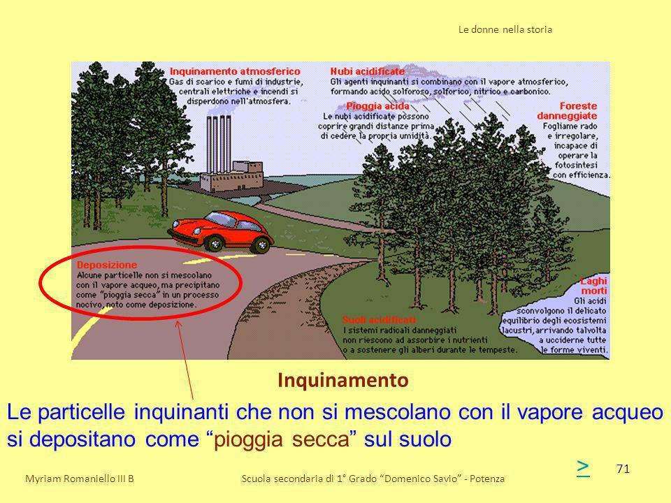 Le donne nella storia Inquinamento. Le particelle inquinanti che non si mescolano con il vapore acqueo si depositano come pioggia secca sul suolo.