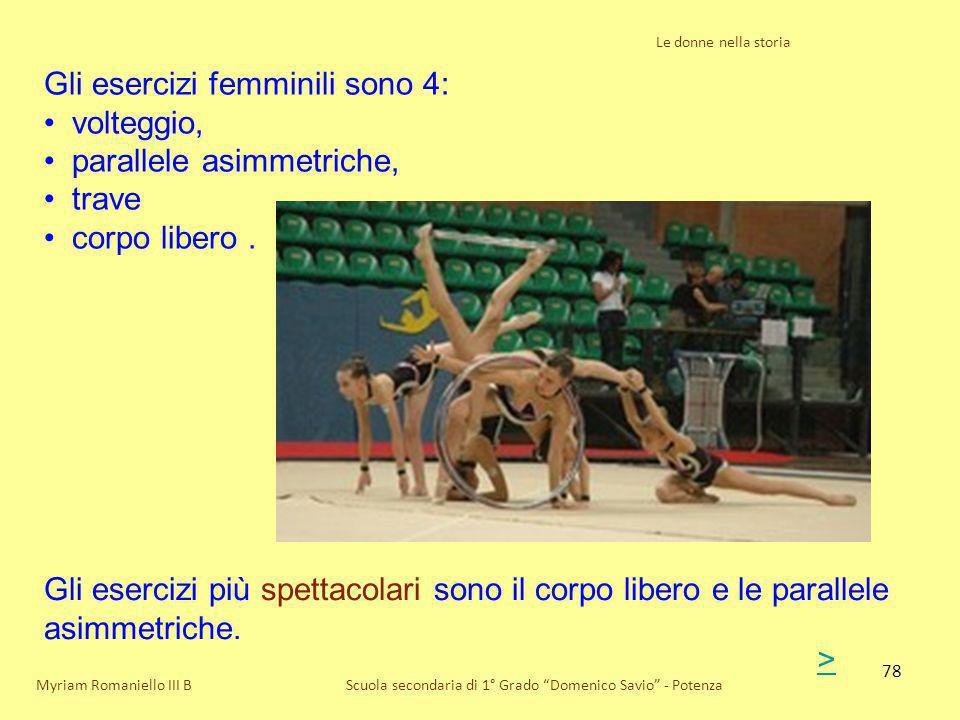 Gli esercizi femminili sono 4: volteggio, parallele asimmetriche,