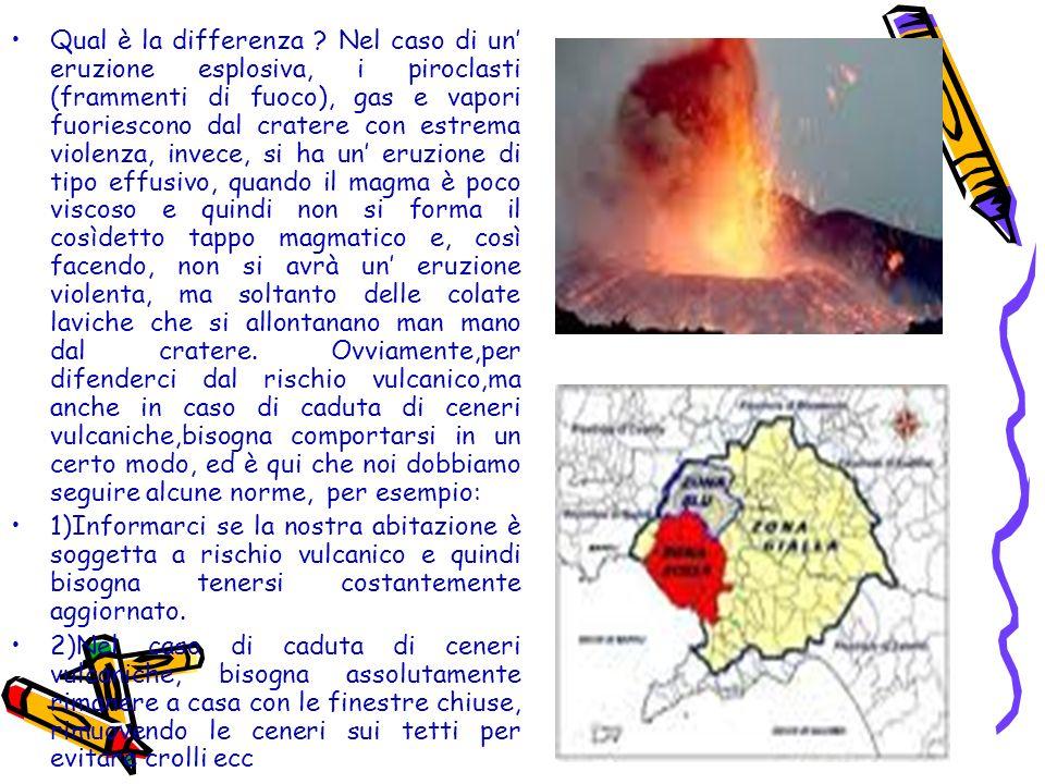 Qual è la differenza Nel caso di un' eruzione esplosiva, i piroclasti (frammenti di fuoco), gas e vapori fuoriescono dal cratere con estrema violenza, invece, si ha un' eruzione di tipo effusivo, quando il magma è poco viscoso e quindi non si forma il cosìdetto tappo magmatico e, così facendo, non si avrà un' eruzione violenta, ma soltanto delle colate laviche che si allontanano man mano dal cratere. Ovviamente,per difenderci dal rischio vulcanico,ma anche in caso di caduta di ceneri vulcaniche,bisogna comportarsi in un certo modo, ed è qui che noi dobbiamo seguire alcune norme, per esempio: