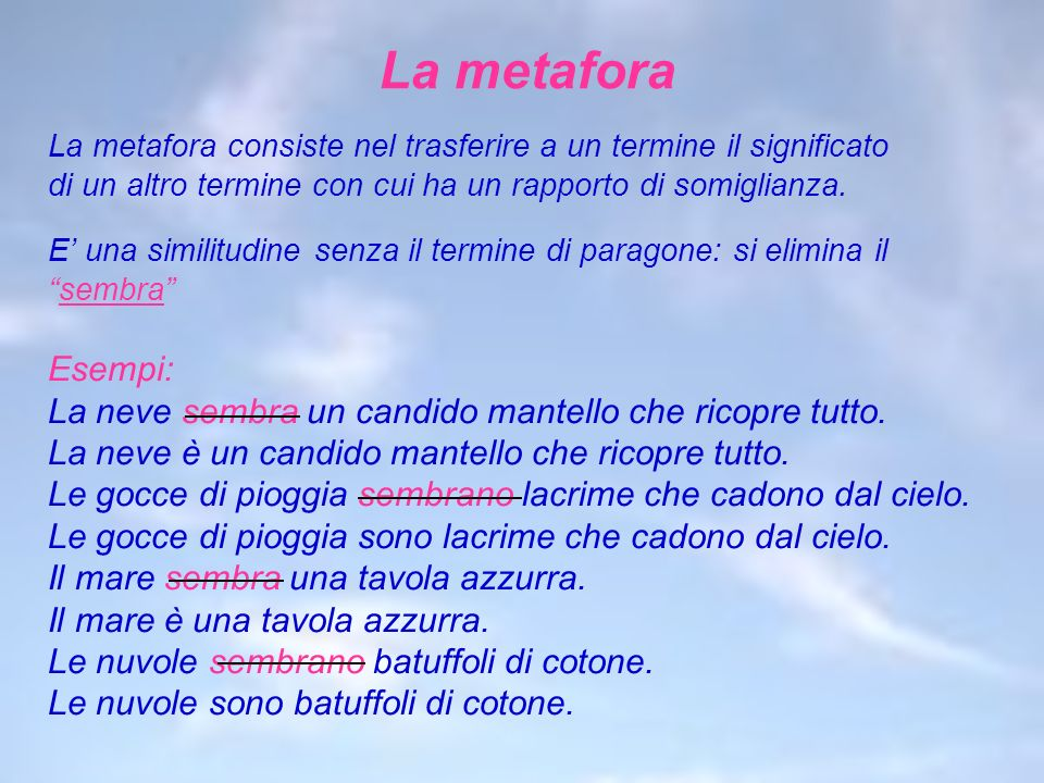 La metafora La metafora consiste nel trasferire a un termine il significato. di un altro termine con cui ha un rapporto di somiglianza.