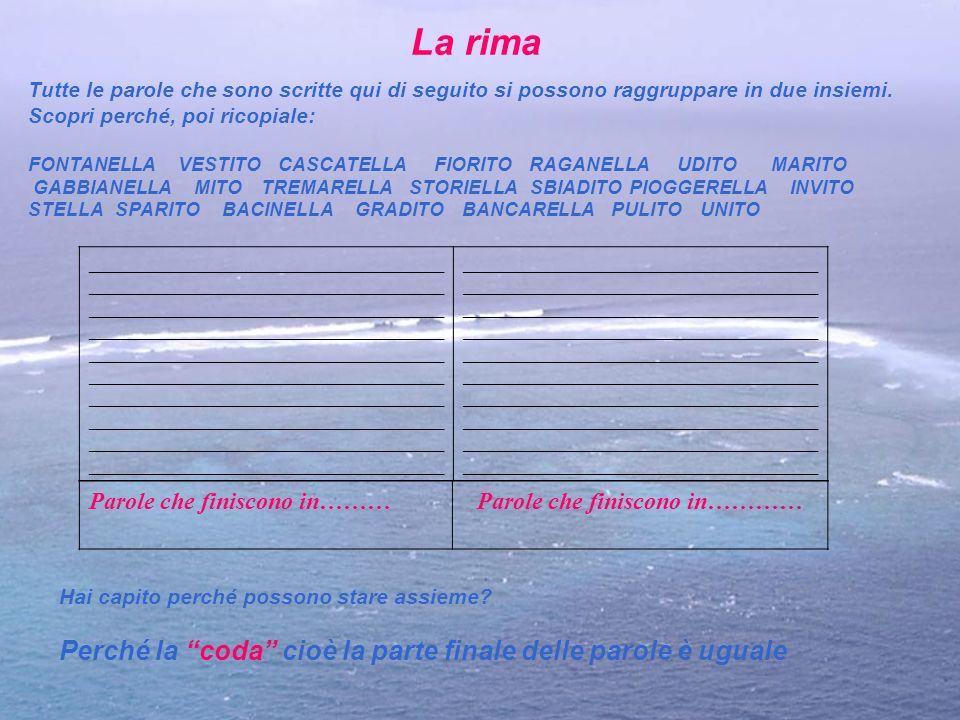 Parole che finiscono in…………