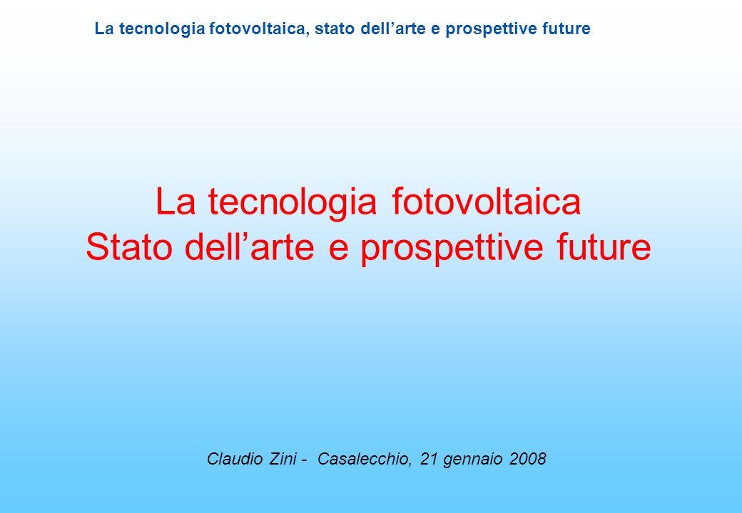 La tecnologia fotovoltaica Stato dell'arte e prospettive future