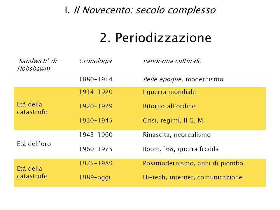 I. Il Novecento: secolo complesso 2. Periodizzazione