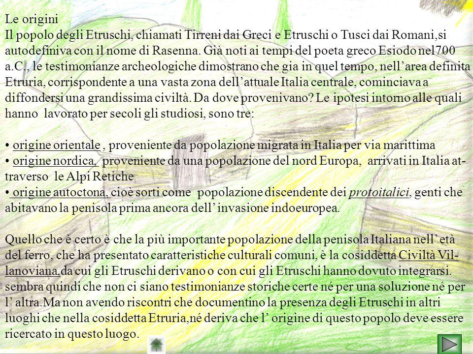 Le origini Il popolo degli Etruschi, chiamati Tirreni dai Greci e Etruschi o Tusci dai Romani,si.
