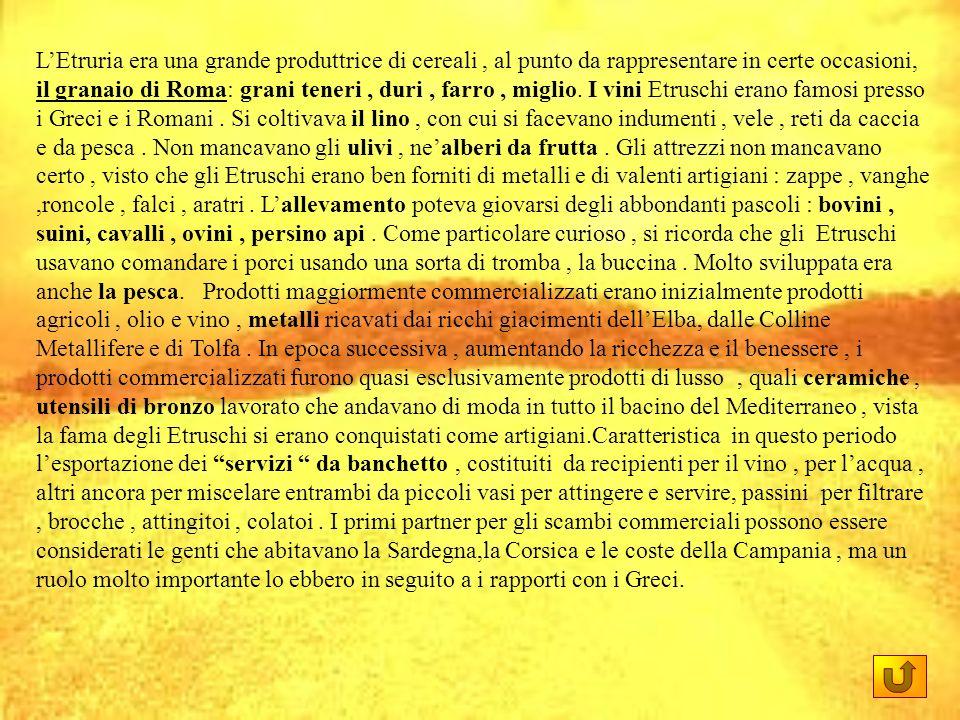 L'Etruria era una grande produttrice di cereali , al punto da rappresentare in certe occasioni, il granaio di Roma: grani teneri , duri , farro , miglio.