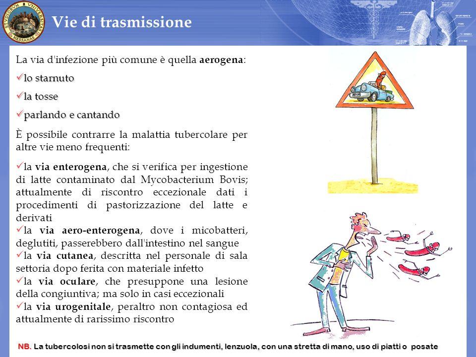 Vie di trasmissione La via d infezione più comune è quella aerogena: