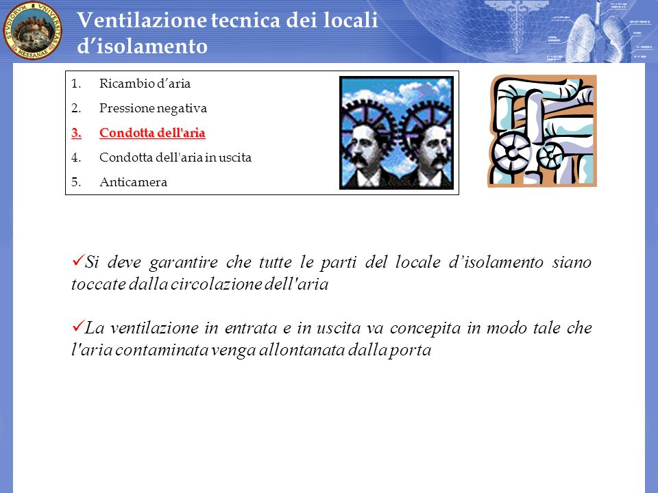 Ventilazione tecnica dei locali d'isolamento
