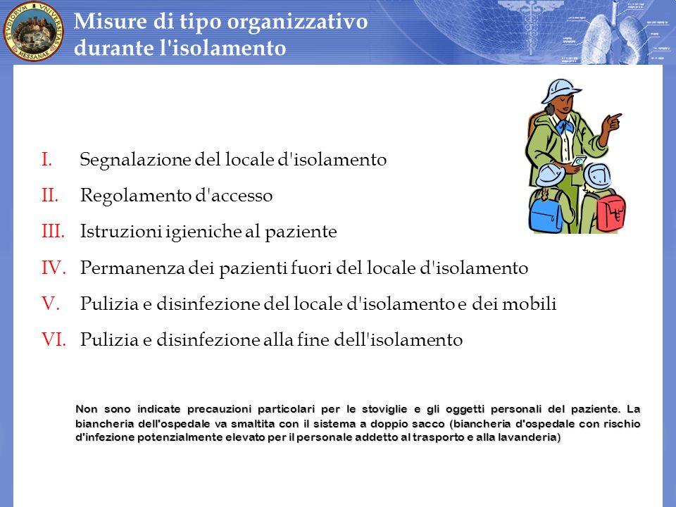 Misure di tipo organizzativo durante l isolamento