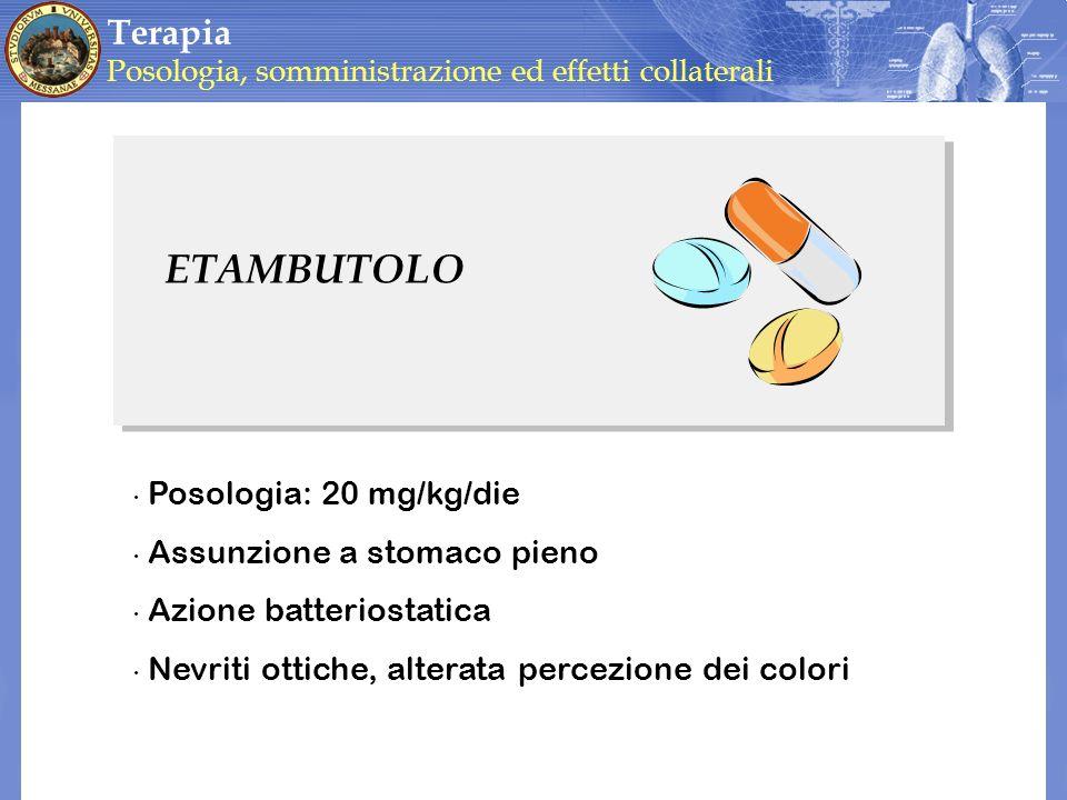 ETAMBUTOLO Terapia Posologia: 20 mg/kg/die Assunzione a stomaco pieno