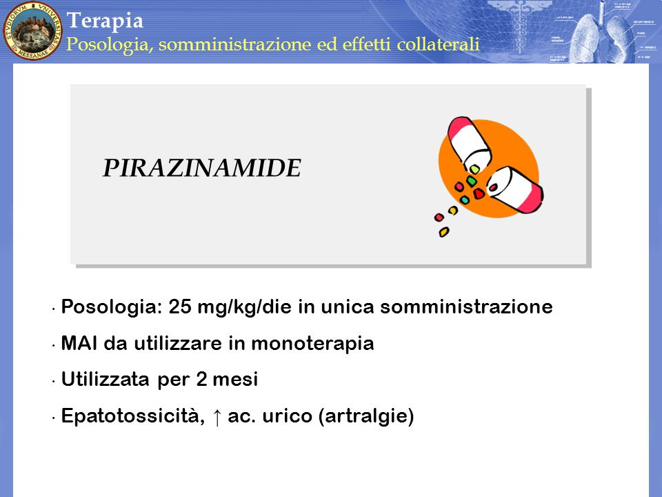 PIRAZINAMIDE Terapia Posologia: 25 mg/kg/die in unica somministrazione