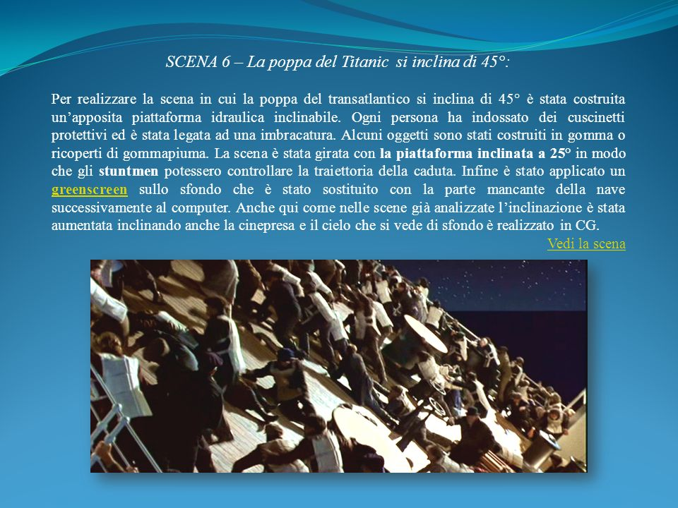 SCENA 6 – La poppa del Titanic si inclina di 45°: