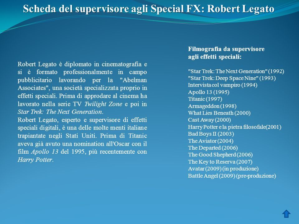 Scheda del supervisore agli Special FX: Robert Legato
