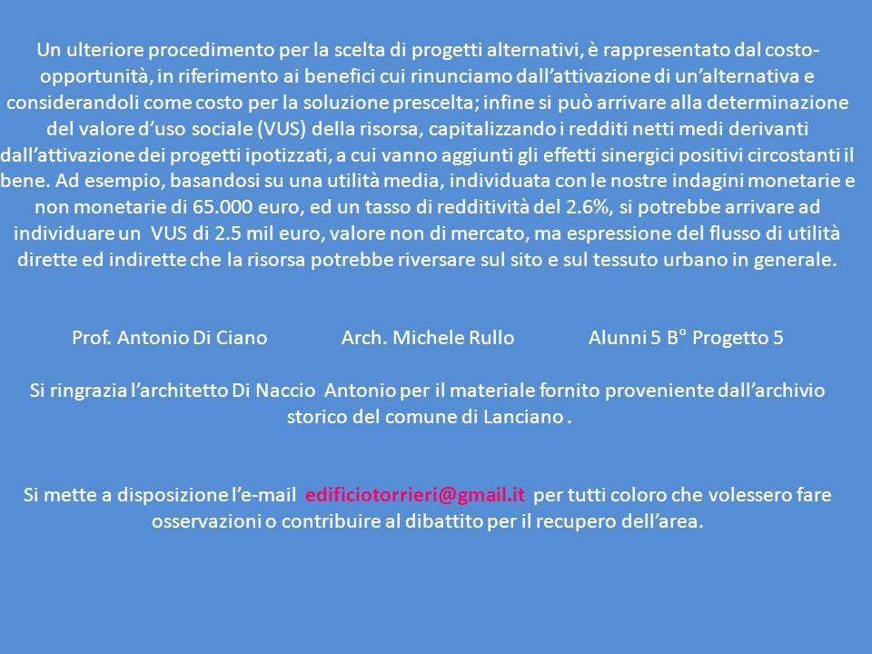 Prof. Antonio Di Ciano Arch. Michele Rullo Alunni 5 B° Progetto 5